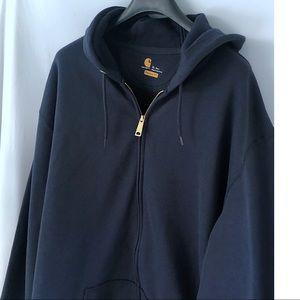Carhartt Work Wear Blue Full Zip Hoodie XL Tall